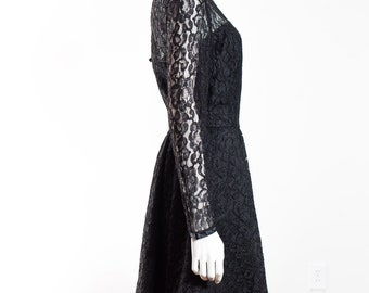 Vintage Black Dress - French Style Floral Lace Short Dress with Crinoline - Prom Dress - Morticia Addams
