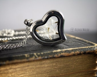 Real Dandelion Seeds Necklace Heart Shaped Glass Terrarium Locket Dandelion Jewellery Love Wish Gift For Her Girlfriend Friend Mother Nature