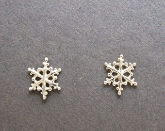Snowflake 14k white or yellow gold, single or PAIR stud earrings solid gold handmade in usa