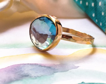 Freeform Topaz Gold ring, 9ct solid Gold and Sky Blue Topaz Statement ring, Handcrafted ring, Natural Topaz 9ct Gold ring.