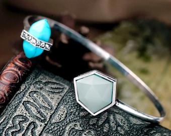 Turquoise bracelet, Turquoise bangle, Stone bangle, Gemstone bracelet, Gemstone bangle - Josie
