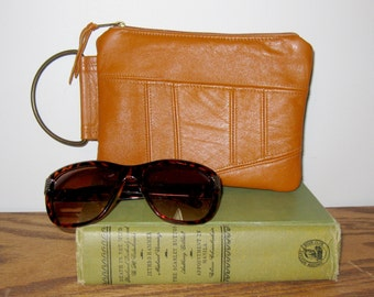 Recycled Leather Clutch - Caramel Brown - Upcycled Leather
