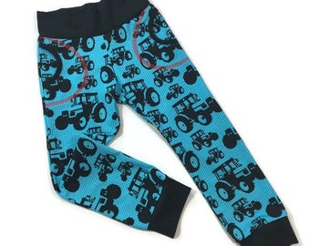 Organic tractor trousers, Tractor theme, Kids joggers, Track pants, Boys clothes, READY TO SHIP, Slouchy pants, Trendy kids clothes, Blue