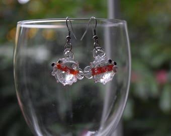Lampwork Glass Pufferfish Earrings