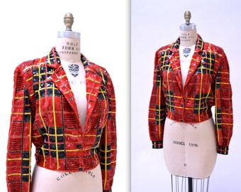 Vintage Red Sequin Jacket Size Medium in Red Black Tartan Plaid by Modi Sequin Christmas Holiday Jacket
