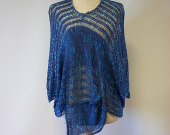 Special price, blue asymmetrical boucle blouse, M size. Only one sample.