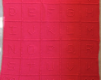 "42"" x 44"" ABC Baby Afghan Choice of Color Alphabet Blanket"