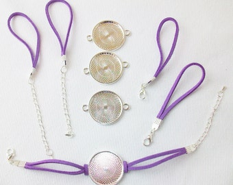 "Bracelet Kits for 1"" Buttons- PURPLE - 23 mm Bezel - Enough to make 50 Bracelets"