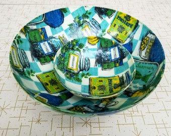 Chip Dip Set Blue Green Condiments and Spice Motif Fiberglass Bowls