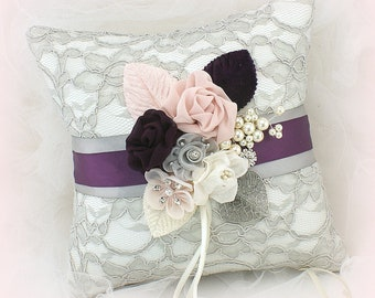 Wedding Ring Pillow Gray Purple Plum Blush Pink Ring Bearer Pillow Vintage Style Ring Cushion Lace Ring Holder Ring Bearer Unique