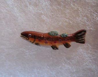 Fish (trout) Jewelry Pin - handcarved and handpainted