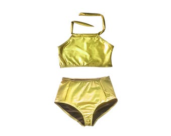 Women's Gold Bikini Metallic Swimsuit Halter Top High Waist Bottom Midkini Mermaid Swimwear