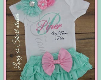 Newborn, Baby girl, coming home outfit, personalized, monogram, name, take home outfit, baby girl clothes, baby girl outfit, mint, pink, set