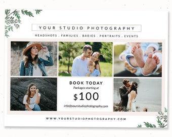 Photography mini session template Now booking photography marketing template 5 photo collage photoshop Portrait photography template flyer