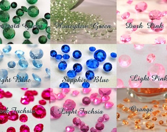 4000 pc DIAMOND CONFETTI-2 cups-mixed sizes-Lots of Colors-No Teeny 4.5mm-For Centerpieces, Wedding Party Decorations, Crystals, Vase Filler
