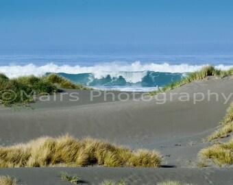 Blue Gray Sand Ocean Waves Dunes Seascape, Pacific Northwest, Landscape, Fine Art Photography signed matted 8 x 12 original photograph