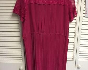 Fuscia lace shift dress