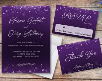 wedding - invitation - purple - celebration - party