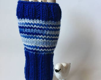 Patterned Wristers - Blue & White