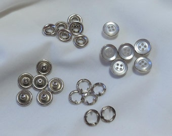 6 pearlised white and silver shirt stud buttons press studs new - UK seller