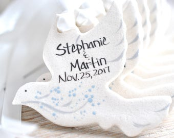Custom Baptism / Wedding Dove Favors Salt Dough Ornaments Set of 10