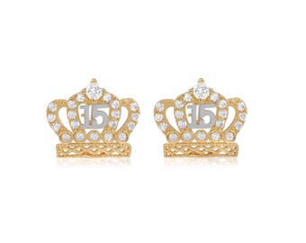 Gold Crown Princess Tiara Earring