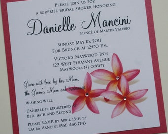 Hawaiian Pink Plumeria Square Bridal Shower Invitation