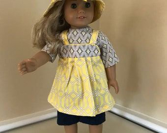 """18"""" doll outfit with hat made to fit American Girl doll"""