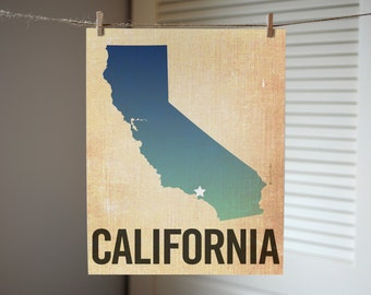California State Print, California Art, Choose a City, Burlap, Ombre, California State Art