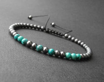 Natural stone turquoise howlite and hematite bracelet matte and shiny