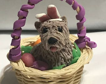 Easter Cairn Terrier with colorful Egg Basket, Polymer Clay Sculpture