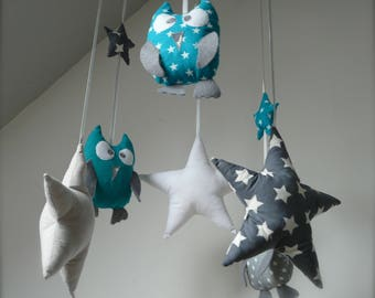 Teal and grey mobile owls and stars