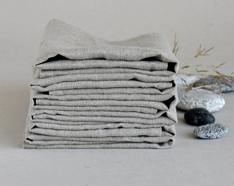 "Natural softened linen napkins- set of 6- size 17""x17""- historical table napkin- table serving- rustic weddings- eco friendly- handmade"