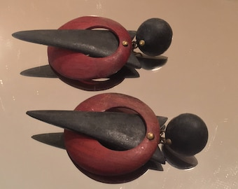 Vintage Wood Modernist/Geometric Statement Earrings