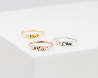 Custom Name Ring • Stacking Bar Ring • Sterling Silver Ring • Baby Name Ring • Birthstone Rings • Mother Gifts • MOTHERS DAY GIFT • RM27F31
