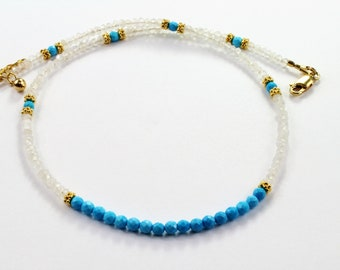 turquoise necklace, moonstone necklace, beaded choker, gemstone choker, womens beaded necklace, turquoise choker, gifts for her, choker