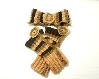 "Baby Headband and Leg Warmers: ""BEIGE BROWN SET"" Handmade Crochet Baby Girl Leg Warmers and Headband Set , baby photo prop A123"