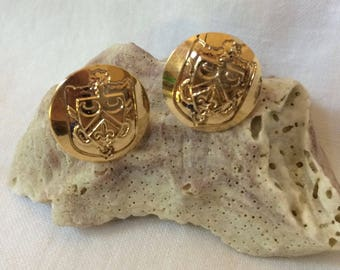 Crest stud earrings- thought to be Candela- marked 14K