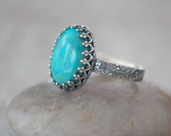 Silver Turquoise Ring - Sterling Silver and American Turquoise - Handcrafted Artisan Ring