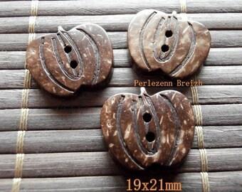 Set of 10 buttons coconut pumpkin Brown 19x21mm