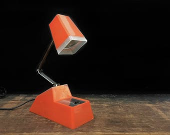 Orange Desk Lamp, Adjustable, Retractable Lamp, Angled Lamp, Vintage Lamp, Retro, Mod, Industrial, Desk Decor