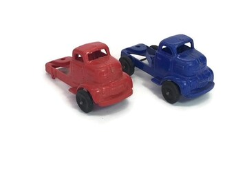 Toy Trucks Plastic Toy Trucks Vintage Cab Over Trucks Semit Trucks Ford Red and Blue Plastic Vehicles