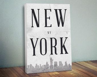 New York Silhouette Canvas Print - NYC - Oversized Statement Piece Art - New York City Silhouette
