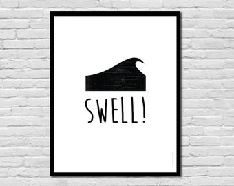 Swell! || Wave + Surf Poster || Children's Art Print Poster, Nursery Art, Children's Room