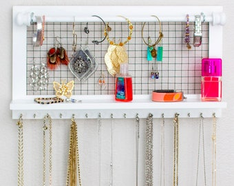 White Jewelry Organizer with Rods - Hold and Organize your Necklaces Bracelets Earrings and other Accessories - Wall Mounted