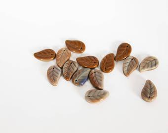 Brown leaf shaped Czech glass bead