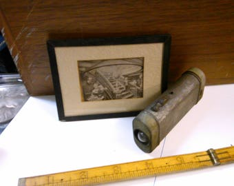 Two Items related to Electricity Vintage Flashlight and Illustration of Early Electric Light
