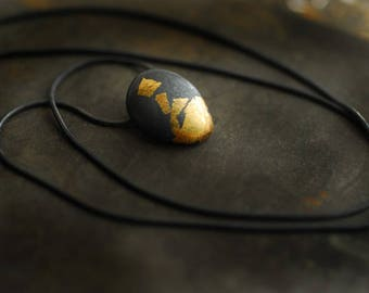 Ready to Ship, Fine Silver Gold Pendant, Keum Boo Jewelry, Matte Black Small Pendant, Ball Necklace, Ember Jewelry, Wearable Art, Minimalist