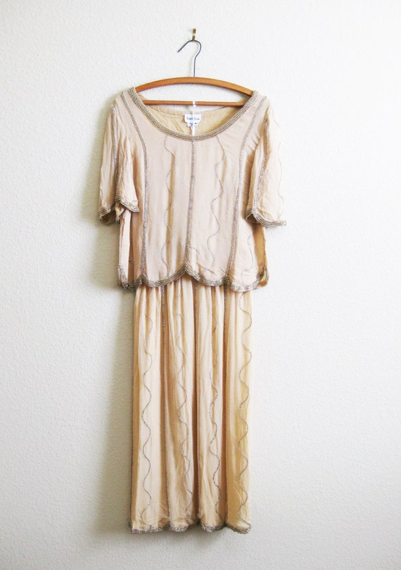 Silk Boho Beaded Gown Neiman Marcus Dark Ivory Silk Crepe 2