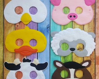 Farm Animals Felt Masks * Birthday Parties * Party Favors * Playtime * Chicken * Pig * Duck * Sheep * Cow * Horse